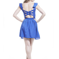 Royal Blue Sleeveless Cutout Dress with Ruffle Trim