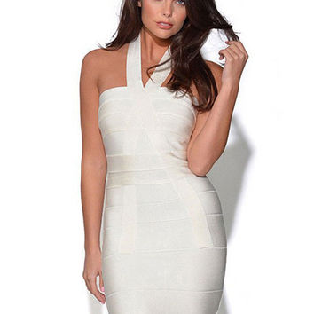White Halter Bandage Bodycon Dress