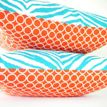 Modern Pillows, Turquoise and Orange Pillow, Blue Zebra Pillow, Reversible Pillow, 18x18 Inch or 12x22 Inch