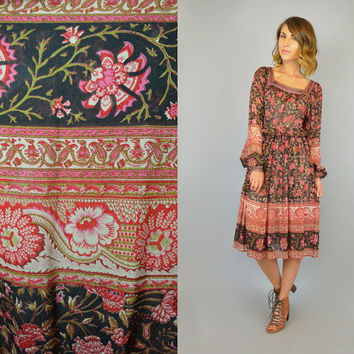 vtg 70s SILK Judith Ann | Ritu Kumar hippie bohemian RARE India hand-blocked floral paisley festival poet sleeve DRESS, small-large