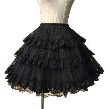 Sweet White/Black Cosplay Skirt Three Layer Lace Lolita Petticoat/Tutu Skirt Free Shipping