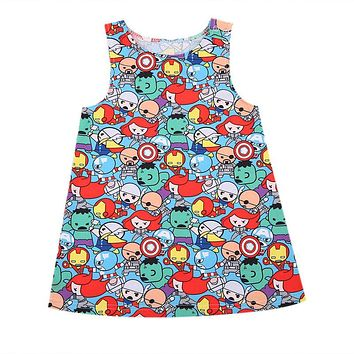 Summer Baby Gilrs Dress Sleeveless Girl Costume Children Clothing Clothes Pricess Round Neck Party Mini Dresses