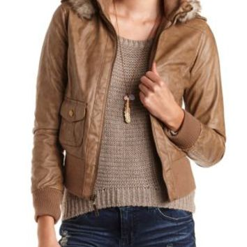Hooded Faux Leather Bomber Jacket by Charlotte Russe - Stone