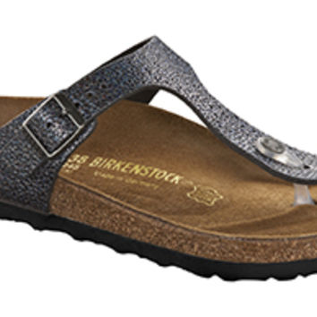 Gizeh Pebbles Metallic Asphalt Leather Sandals | Birkenstock USA Official Site