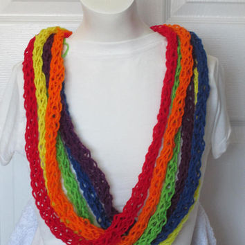 Finger Yarn Lei with flower on the side,Hawaiian Lei,Prefect for Graduation, Great for any Special Event-Rainbow