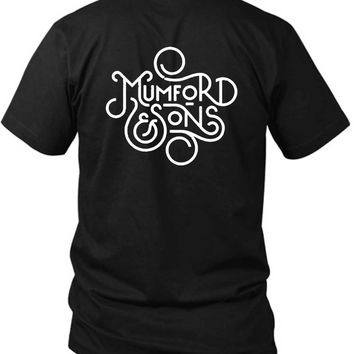 Mumford And Sons Title Art Black And White 2 Sided Black Mens T Shirt