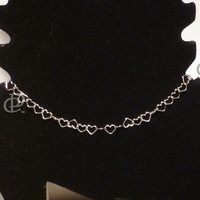 Sterling Silver Heart Links Ankle Bracelet Italian