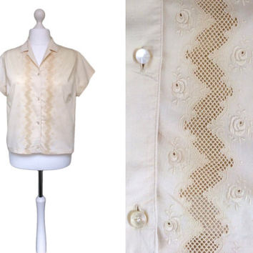 Swiss 1950's Blouse - Buttery Cream Blouse - Vintage Blouse - 50's Embroidered Blouse