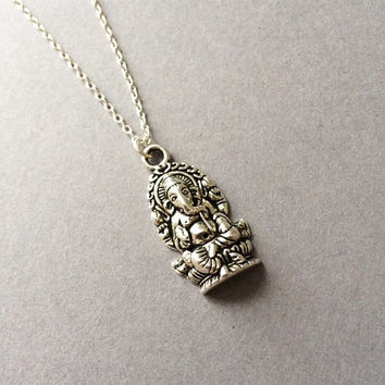 Ganesh Necklace, Silver Ganesh Necklace, Ganesha Necklace, Spiritual Jewelry, Birthday Gift