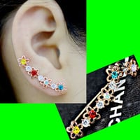 Flower and Rhinestone Long Clip Ear Pin Asymmetric Set (2 pieces) - LilyFair Jewelry