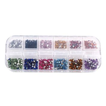DCK9M2 1.5-2 mm 12 colors Round Acrylic Rhinestone Perfect for 3D Nail Art Decoration,1014