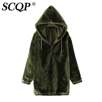 SCQP Velvet Solid Hooded Hoddies Women Long Sleeve Casual Loose Womens Hoodies Pullover Ladies Autumn Army Tracksuit Woman 2017