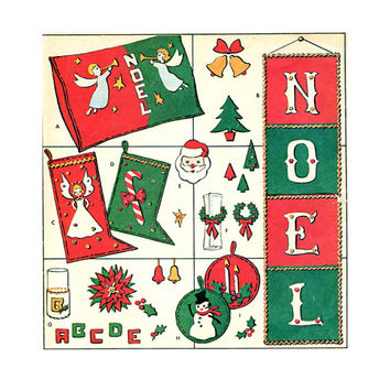 1950s CHRISTMAS McCalls FELT PATTERNS Holdiay Crafts Potholders Noel Banner Pillows Toys Ornaments Angel & Cane Stockings Sewing Patterns
