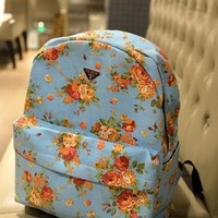 Fashion Rose Floral Print Canvas Backpack