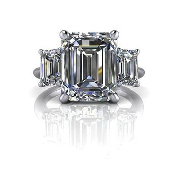 SUPERNOVA Colorless Moissanite Emerald Cut Three Stone Engagement Ring or Right Hand Ring 6.20 CTW