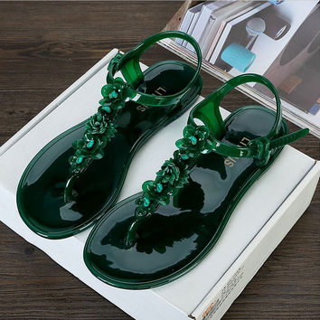 Beach shoes Roses jellies sandals chain flats women Shoes