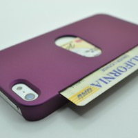 iPhone 5 Purple Side Credit Card Holder Rubberized Case Cover