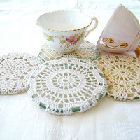 Vintage fabric white beige antique lace crochet cups by Mintook