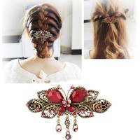 Tassel Hair Clips for Women Girls Braided Hair Clip Styling Tools	Hair Accessories Hairpins Fashion Crystal Butterflies Barrette