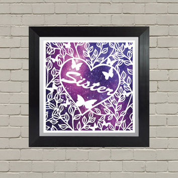 Sister Papercut, Christmas Gifts, Personalized Gifts, For Her