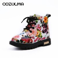 COZULMA Kids Boots for Girls Boys Elegant Floral Flower Print Boots Children Boots Shoes Baby Toddler Martin Boots Kids Sneakers