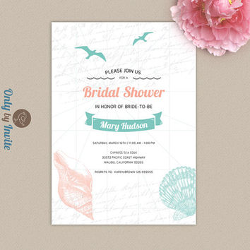 Sea bridal shower invitation printed | Nautical, beach, sea shell wedding shower invitation | Mint green and coral | Destination invitation