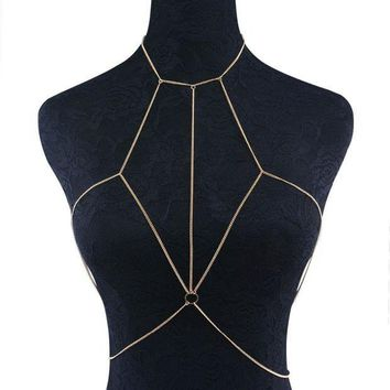 ac PEAPO2Q Ingemark New Sexy Beach Bikini Crossover Golden Color Body Chain Harness Necklace Fashion Chest Jewelry for Women