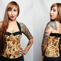Psychobilly/ Rockabilly/ Pin up/ Retro Tattoo Print Sailor Collar Corset Top. Size: small