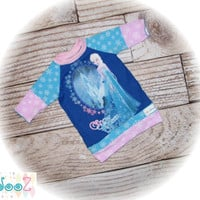 Girls approximate size 18/24m  Upcycled Disney's Elsa Frozen Snow Queen (tm) 3/4 sleeve Tunic