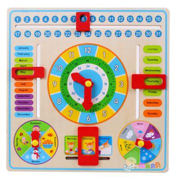 Calendar Clock Puzzle Hanging Wooden Board Children Kids Early Education Toy Learn Time Season Weather Month