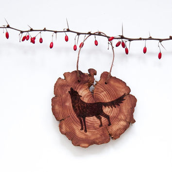 Wood Burned Howling Wolf on Cedar Heart.  Woodland Animal Ornament or wall hanging