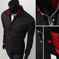 Red Crossing Black Slim Fit Dress Shirt SOS
