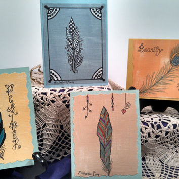 Greeting cards, set of 4, hand drawn whimsical feathers on cardstock by artist; zentangle; all occasion stationery