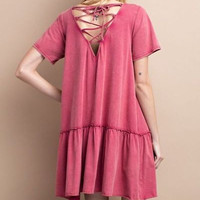 Short sleeve rayon modal babydoll dress with back cross tie lace