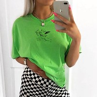 Woman Loose Fashion Angel Print Short Sleeve T-Shirt Tops Tee