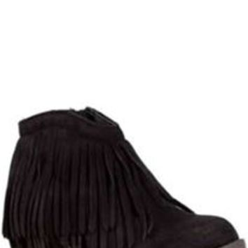 Soda Shoes Jervis Fringe Closed Toe Booties in Black JERVIS-S-BLK