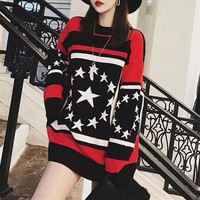 """""""Givenchy"""" Women Fashion Multicolor Five-pointed Star Long Sleeve Knit Sweater Tops"""