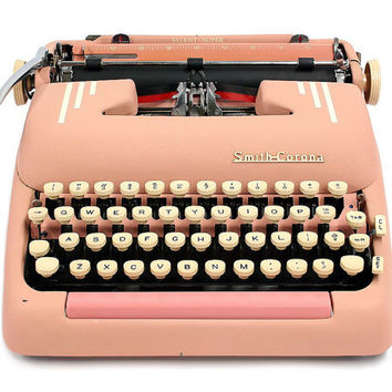 1955 Pink Smith Corona Silent Super Typewriter / Original Case / Vintage Metal Ribbon Spools