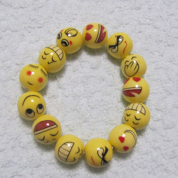 Ceramic Bracelet,kawaii face.yellow