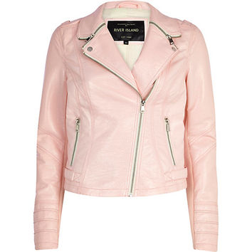 River Island Womens Light pink zipped collar biker jacket