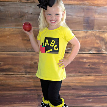 ABC School Outfit, Back to school outfit, Kindergarten Graduate Shirt, Graduation, Personalized School Outfit,Personalized Girls Clothes