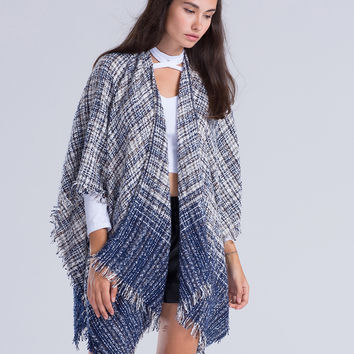 Blue Color Block Check Patterned Tassel Detail Cape