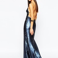 Club L Showstopper Open Back Sequin Maxi Dress With Fishtail