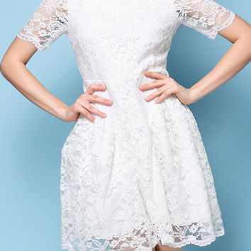 White Short Sleeve Lined Lace Skater Dress