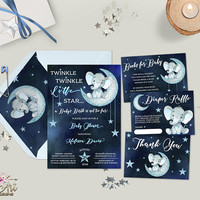 Twinkle Twinkle Little Star Baby Shower Invitation Printable Elephant Baby Shower Invitation Set Navy Blue Silver Boy Baby Shower Invite