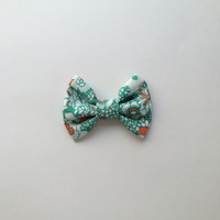 Green and Orange Floral Hairbow, Big Floral Hair Bow, Girls Flower Bow, Hairbow for Teens, Gifts Under 5