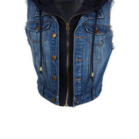Hooded Denim Vest