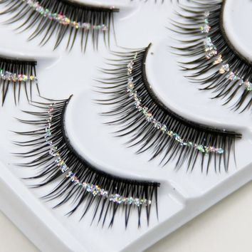 YOKPN Natural False Eyelashes Bare Silver Sequins Glitter Makeup False Eyelashes Stage Makeup Bridal Makeup Thick False Eyelashe