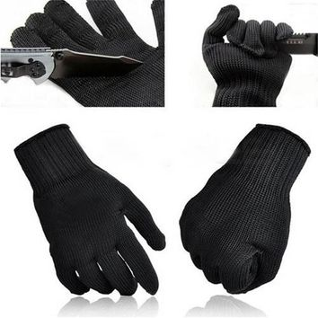 NEW Stainless Steel Wire Safety Work Anti-Slash Cut Static Resistance Wear-resisting Protect Gloves Hand Safely Security Black