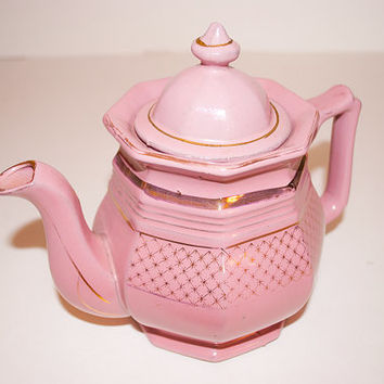 Dusty Pink Teapot with Gold Accents, Ceramic Teapot Set, Hand Painted Teapot, Afternoon Tea Party, Garden Party Decor